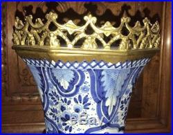 BEAUTIFUL LARGE ANTIQUE BRONZE ORMULU DELFT BLUE PORCELAIN VASE 19th Century