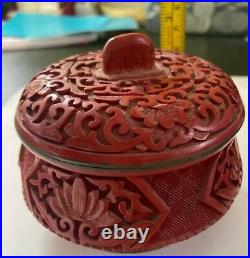 Beautiful Antique large Chinese red cinnabar lacquer Pot Mid-20th Century