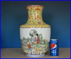 Beautiful Large Antique Chinese Famille Rose Porcelain Vase Marked Qianlong B802