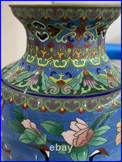 Beautiful Large Chinese Enamel Cloisonne Vase Cranes & Cherry Blossom. VGC