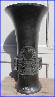 Beautiful Large Signed Antique Chinese Bronze Vase Ming