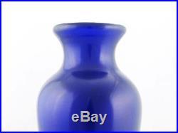 Beautiful Vintage Chinese Large & Heavy Cobalt Blue Chinese Peking Glass Vase