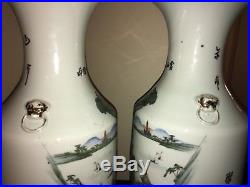 Beautifully Painted X Large 23H Pair of Chinese Antique Vases Late 19th/20th C
