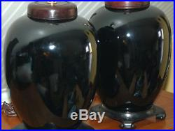 CHINESE BLACK LAMPS Pair Monochrome Porcelain Vases Melon Ginger Jars Large