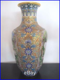 CHINESE Large 16 CLOISONNE Vase withCRANES & Flower Blossoms