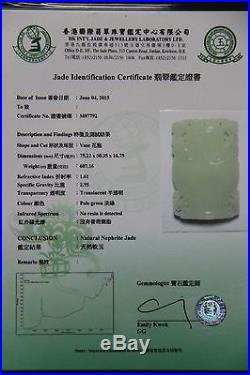 Certified Chinese Hetian Jade Pendant. Vase. Well carved and large piece! XXL