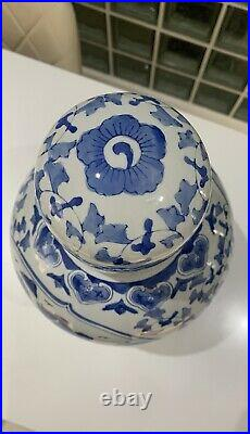 Chinese Blue & White Large Size Ginger Jar With Dome Top