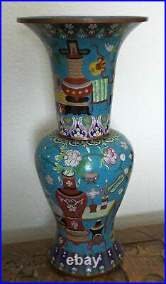 Chinese Cloisonné Tall Large Blue Vase with Flowers and Vases
