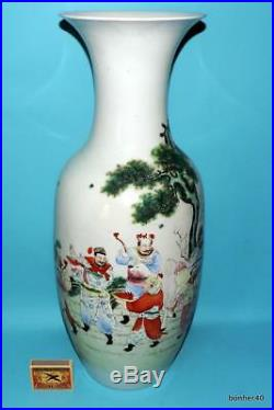 Chinese Export Porcelain 19thc Famille Rose Temple Floor Qing Large Vase