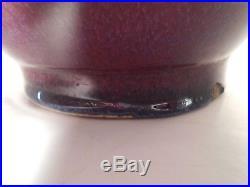 Chinese Flambe Glaze Very Large Bottle Vase WithFluted Opening & Purple/Blue Hue's