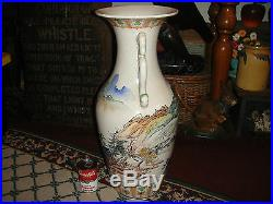 Chinese Japanese Very Large Floor Urn Vase Painted Scenes Two Handles