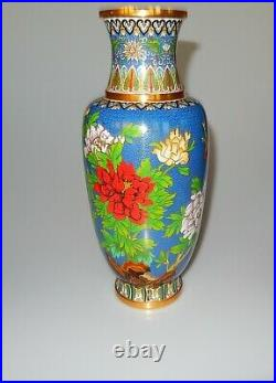 Chinese Large Cloisonne Vase Antique Chrysanthemums Butterflies