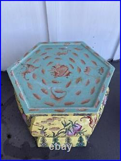 Chinese Large Famille Rose Yellow Ground Enameled Porcelain Hexagonal Stand