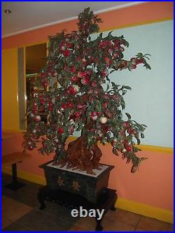 Chinese Oriental Asian Antique Large Artificial Plant Jade Ceramic Flower Tree