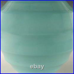Contemporary Chinese Peking Glass Turquoise Ribbed Lantern-form Vase 20th C