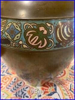 EXCEPTIONAL antique CHINESE CLOISONNE LARGE BRONZE VASE Signed Enamel Design