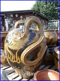 Extra Large Chinese Thai Glazed Embossed Dragon Vase Garden Pot