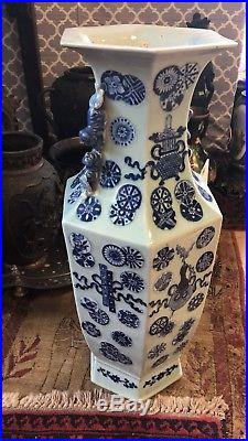 FINE Large Chinese 19th C Blue & White Square Vases