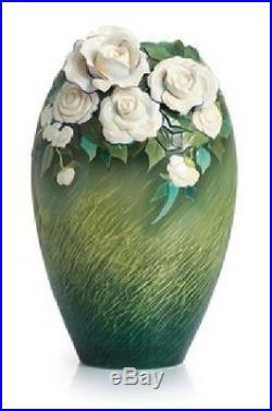 FZ02407 Franz Porcelain Van Gogh collection White Roses Large Vase