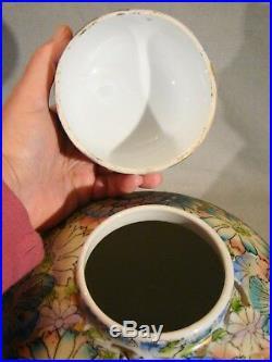 Fine Chinese Porcelain Thousand Flowers Large Ovoid Covered Jar Vase 10+