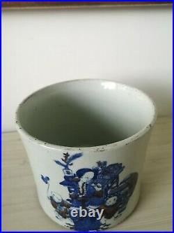 Fine Large Antique Chinese Blue/White/Red Bitong/Brushpot CT Loo, Seal, Kangxi