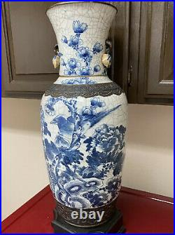 Fine Large Antique Chinese Blue and white vase Lamp