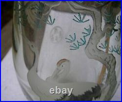 Fine Large CHINESE ETCHED GLASS VASE withCRANES-Painted Highlights-NR