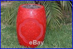 Fine and Large Chinese Carved Cinnabar Lacquer Garden Stool Garden Seat