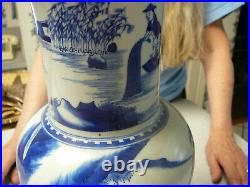 Finely painted large Chinese porcelain blue and white phoenix tail vase 19th C