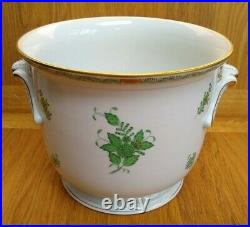 Herend Large Cachepot Flower Pot / Vase #7211/AV Apponyi Verte Chinese Bouquet