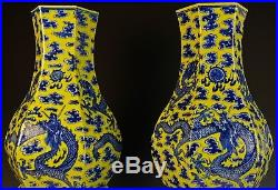 Incredible Large Pair Antique Chinese Yellow And Blue Porcelain Dragon Vases