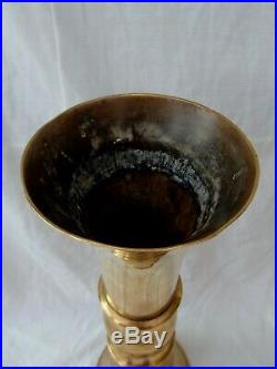 LARGE ANTIQUE CHINESE YELLOW PAKTONG BRONZE GU FORM BEAKER VASE 18th 19th CENT