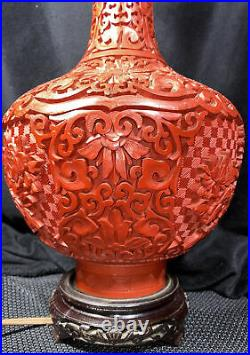 LARGE Antique Chinese CARVED RED CINNABAR TABLE LAMP