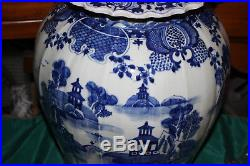 LARGE Chinese Blue & White Lidded Temple Jar Vase-Houses Water Trees-Porcelain