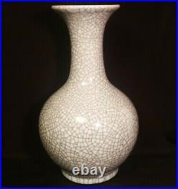 LARGE GUAN vtg chinese crackle glaze art pottery vase grey celadon porcelain