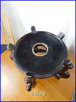 LARGE Vintage Chinese Oriental Fish Bowl Planter Vase BEAUTIFUL DRIP GLAZED