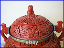 Large 15 Signed Carved Cinnabar Twin Handle Censer Urn Wood Base Foo Dog