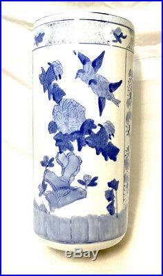 Large 18 Vintage Chinese Blue White Porcelain Umbrella Stand Birds Estate find