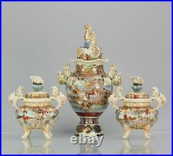 Large 1900-1930 Satsuma Antique Garniture Japanese Colorfull Vases Japan