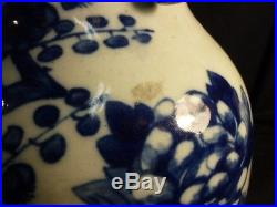 Large 19th C Blue And White Chinese Vase With Peacock Decoration