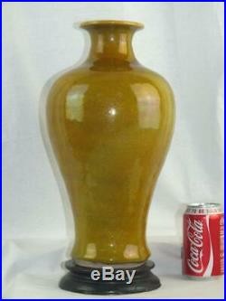 Large 19th C Chinese Porcelain Gold Flecked Yellow Monochrome Vase & Stand