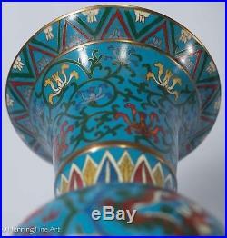 Large 30.48cm / 12inch Beautiful Chinese Cloisonne Enamel Pair Vases Oriental