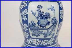 Large 47 cm / 19 inch Antique Chinese Porcelain Blue & White Jar Vase 18th C