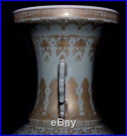 Large Amazing Chinese Antique WuCai Porcelain Bottle Vase Marks QianLong