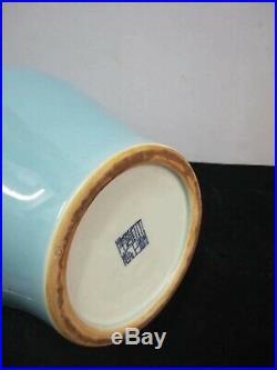 Large Amazing Chinese Blue Glaze Porcelain Vases Pot Marks YongZheng 20.5H