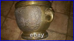 Large Antique Chinese Brass Planter vase elephant handles asian scene waterfall