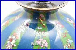 Large Antique Chinese Champleve Cloisonne Enamel Bronze Vase Table Lamp