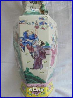Large Antique Chinese Enamel Porcelain Baluster Vase Figures Famille Verte Rose