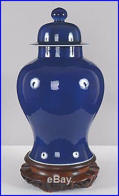 Large Antique Chinese Monochrome Mazarin Blue Glazed Covered Porcelain Jar Vase