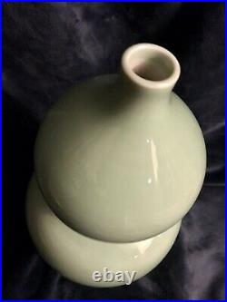 Large Antique Chinese Porcelain Monochrome Celadon Glaze Double Gourd Vase 14